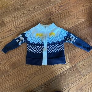 🛍3/$25 Zip up Nordic sweater in size 12 months